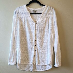 Lucky Brand Ivory Embroidered Blouse—L